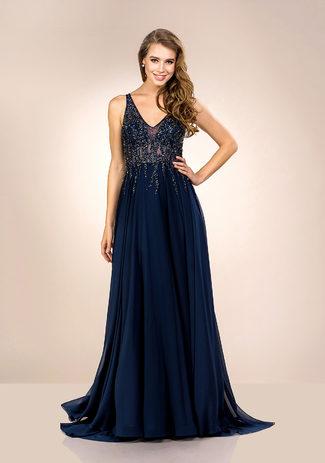 Gasa Vestido de noche con Adornos de diamantes de imitación en Twilight Blue