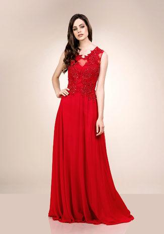 Besticktes Chiffon Abendkleid in Salsa Red