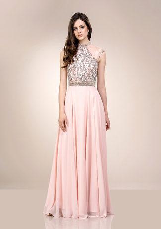 Tüll Abendkleid mit hohem Kragen in Pearl Pink