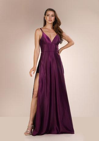 Abendkleid mit Schlitz in Royal Purple