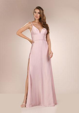 Abendkleid mit Schlitz in Pearl Pink