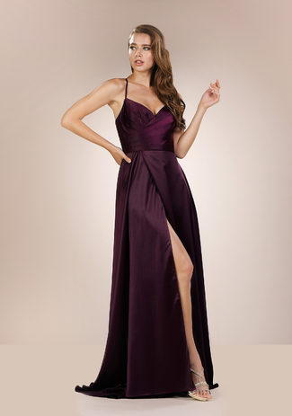Abendkleid aus Satin in Royal Purple