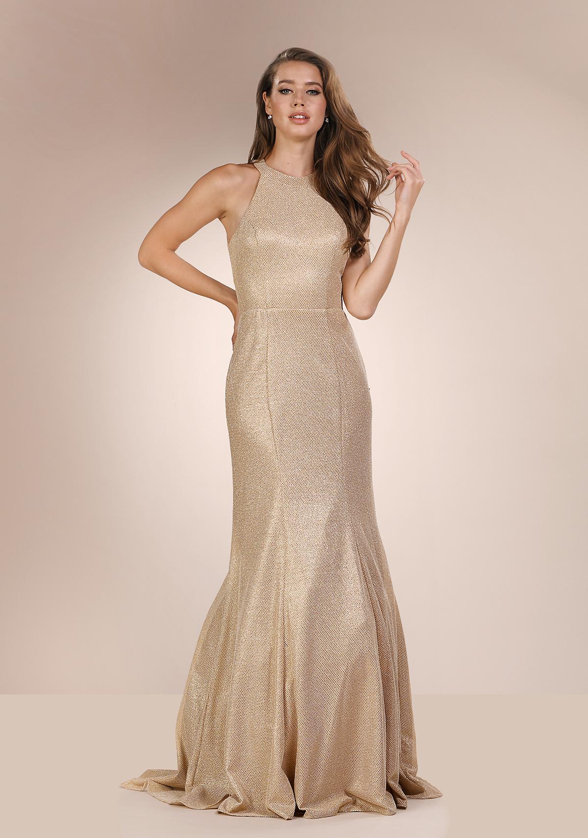 Abendkleid mit hochgeschlossenem Kragen in Glitter Gold ...