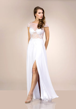 Chiffon evening dress with embroidery in Snow White