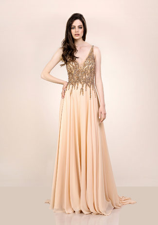 Chiffon Abendkleid  in Macadamia Nut