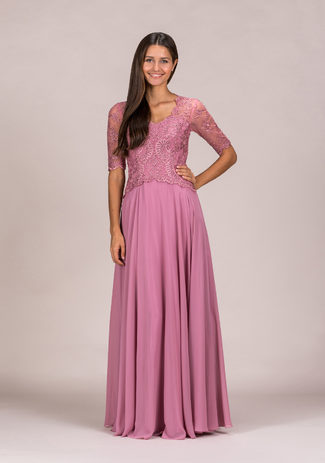 Chiffon evening dress with half length Sleeves in Geranium Pink