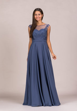 Chiffon Abendkleid mit Strassapplikation in Indigo Grey