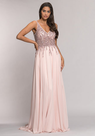 Chiffon evening dress with rhinestone embellishments in Pearl Pink