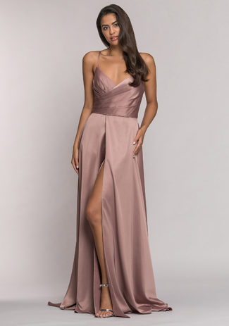 Evening dress made of Satin Shining, Cappuccino