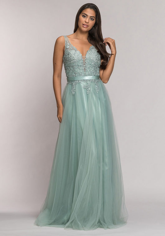 Tulle evening dress in Apple Mint