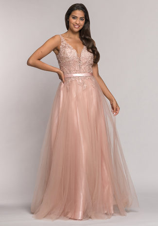 Tulle evening dress with luster decoration in Dawn Pink