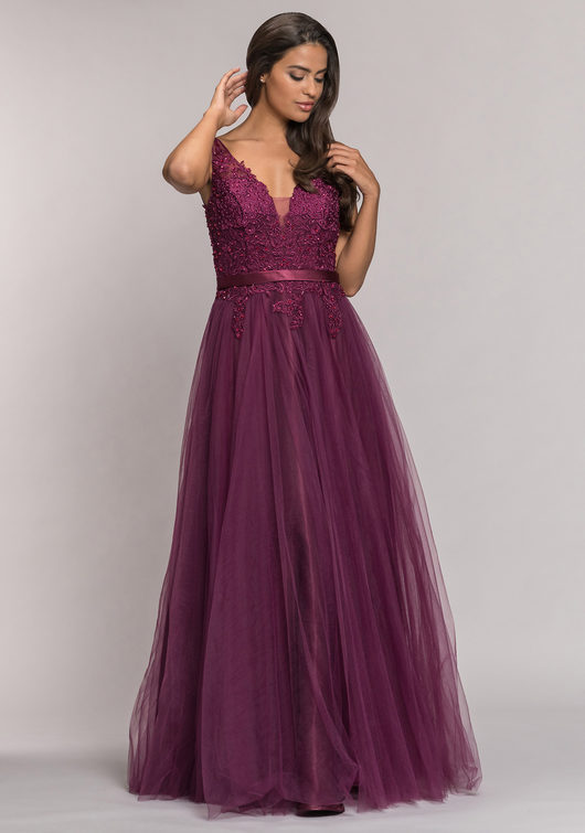 Tulle evening dress in Royal Purple