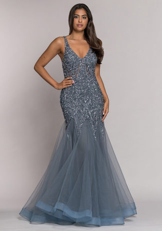 Tulle evening dress with elaborate decoration in Ghost Grey
