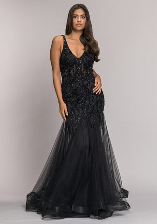 Tulle evening dress with elaborate ornament in Phantom Black