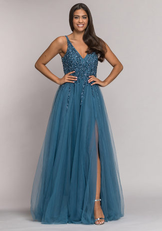 Bodenlanges Abendkleid in Ice Blue