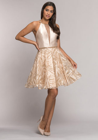 Cocktail dress with high neck collar in Macadamia Nut
