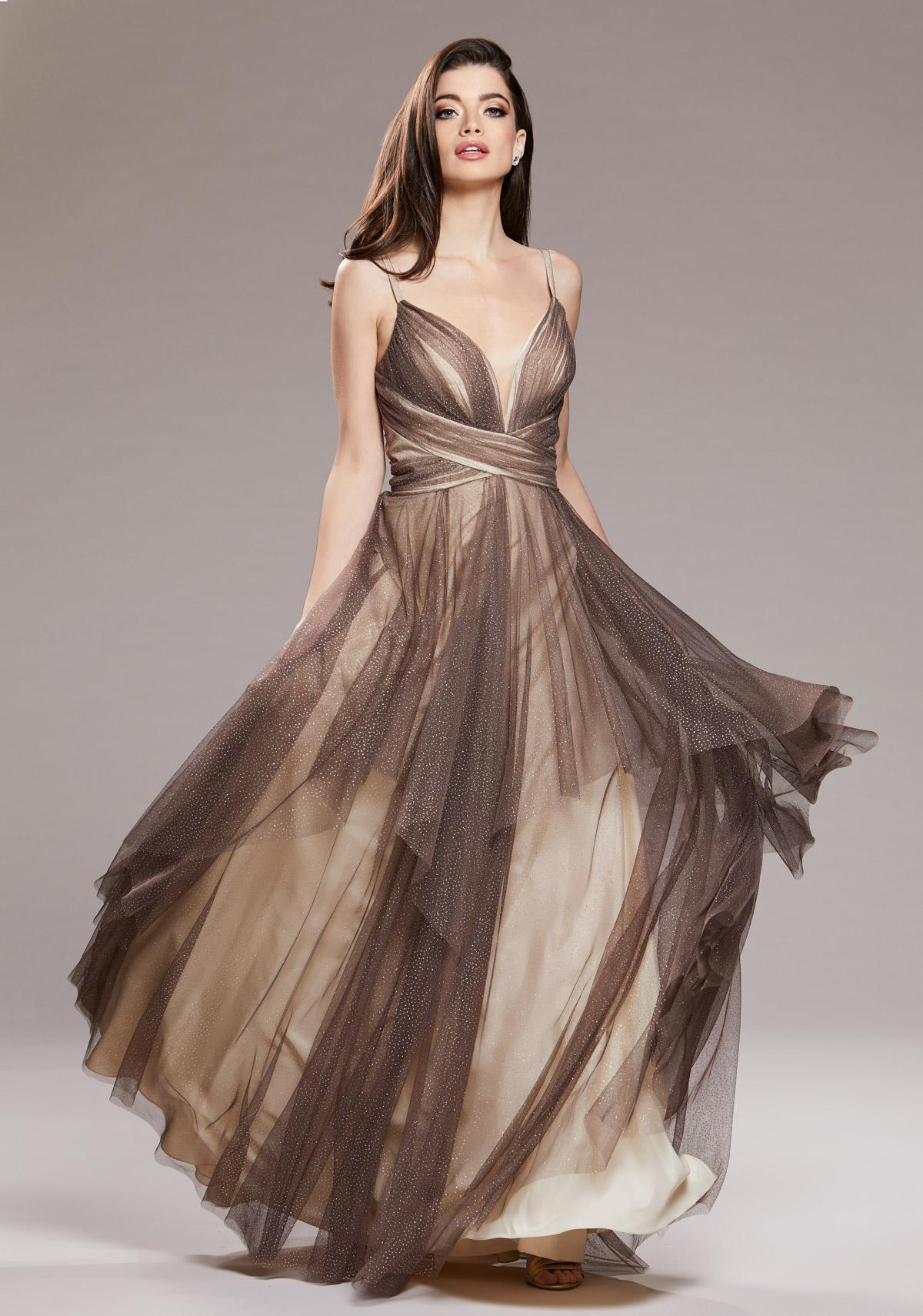 Glitzer Abendkleid mit ausgestelltem Tüllrock in Glitter ...