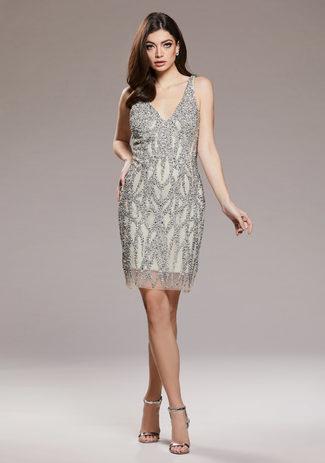 Cocktail dress with rhinestone trim in Ghost Grey