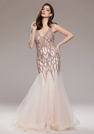 Tulle evening dress with intricate embellishment in Pearl Pink