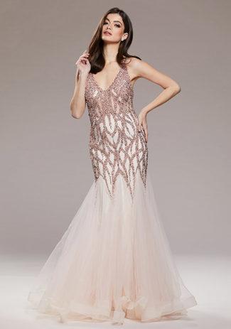 Tüllabendkleid mit aufwendiger Verzierung in Pearl Pink