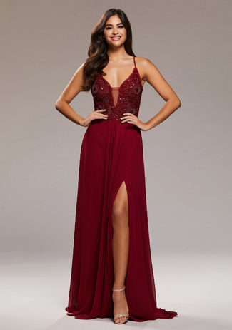 Evening dress with embroidery embellishments in Rio Red