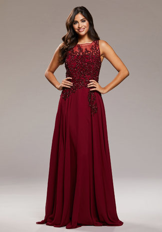 Evening Chiffon dress in Rio Red