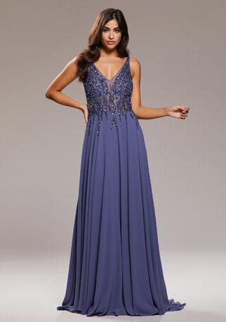Chiffon evening dress with rhinestone embellishments in Indigo Grey