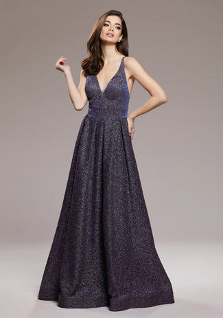 Glitter evening dress in Glitter Blue & Purple