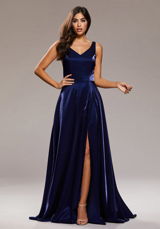 Evening dress with slit in the Shining Twilight
