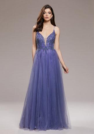Abendkleid aus Tüll mit Rückenschnürung in Lavender