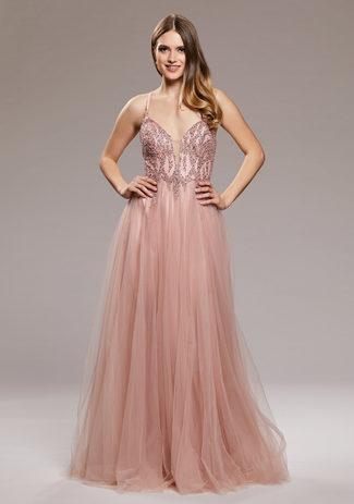 Abendkleid aus Tüll mit Rückenschnürung in Dawn Pink
