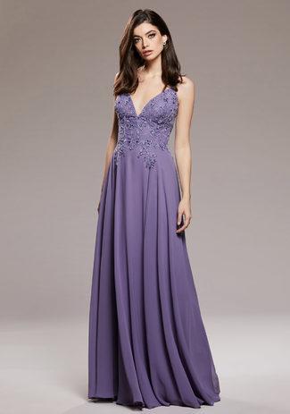 Abendkleid aus Chiffon mit Rückenschnürung in Lavender