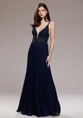 Abendkleid mit Plissee Rock in Twilight Blue