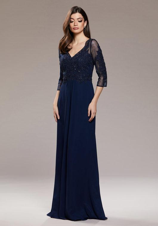 Langärmliges Abendkleid aus Chiffon in Twilight Blue