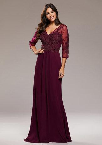 Manga larga Vestido de noche de Gasa en el Royal Purple