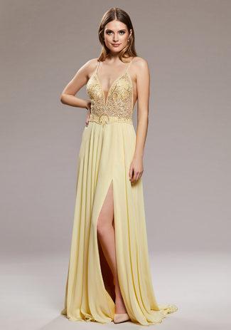 Abendkleid aus Chiffon mit schmalen Trägern in Sunshine Yellow