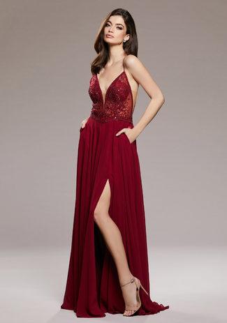 Vestido de noche de Gasa con Vigas estrechas en Rio Red