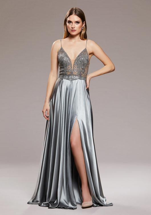 Abendkleid aus Satin mit schmalen Trägern in Shining Silver