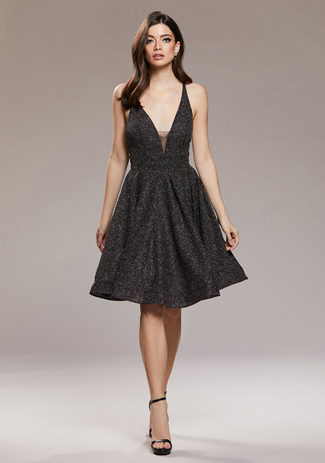 Glitzer Cocktailkleid in Glitter Black