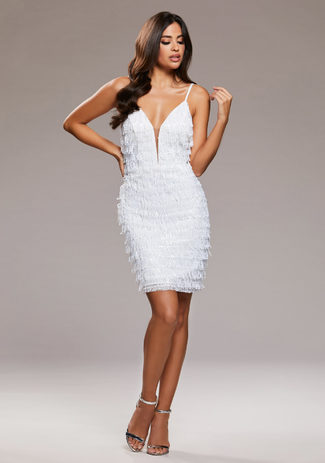 Cocktail dress with sequin trim in Snow White