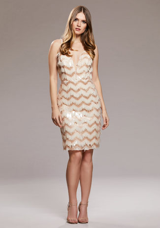 Cocktail dress with Sequins in Champagne