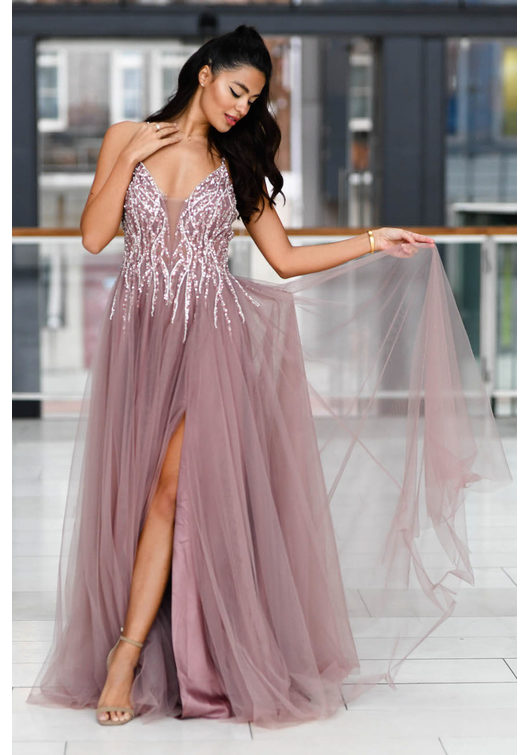 Robe de soirée en tulle avec strass en Dawn Pink