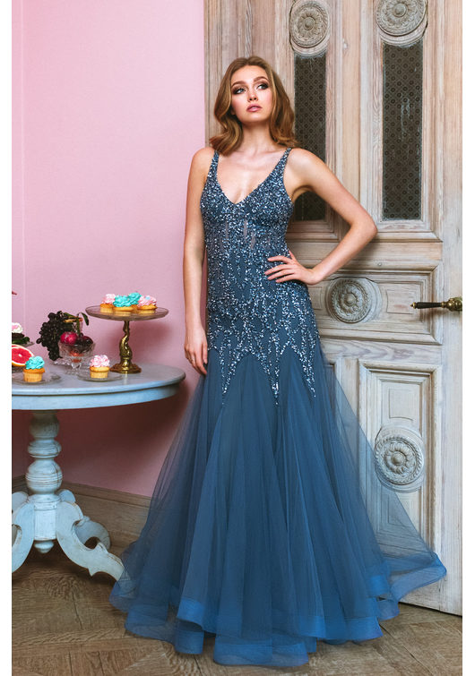 Tulle evening dress with elaborate ornament in Ice Blue