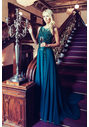 Abendkleid aus Chiffon mit Glitzerdekor in Posy Green
