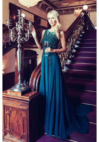 Evening dress made of Chiffon with glitter decor in Posy Green