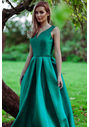 Mikado evening dress in Posy Green