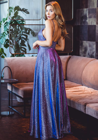 Glitter evening dress with spaghetti straps in Glitter Purple