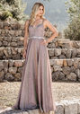 Glitter evening dress with sequined waist band in glitter lilac