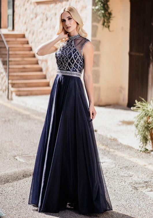 Tüll Abendkleid mit hohem Kragen in Twilight Blue