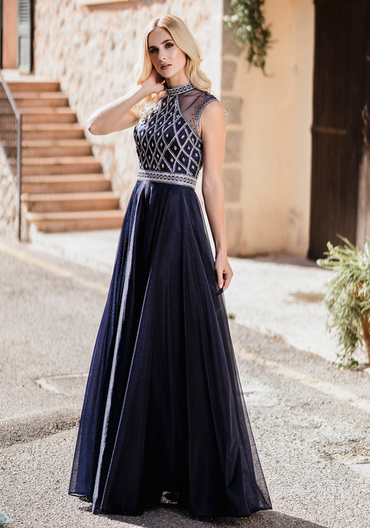 Vestido de noche de tul con cuello alto en Twilight Blue